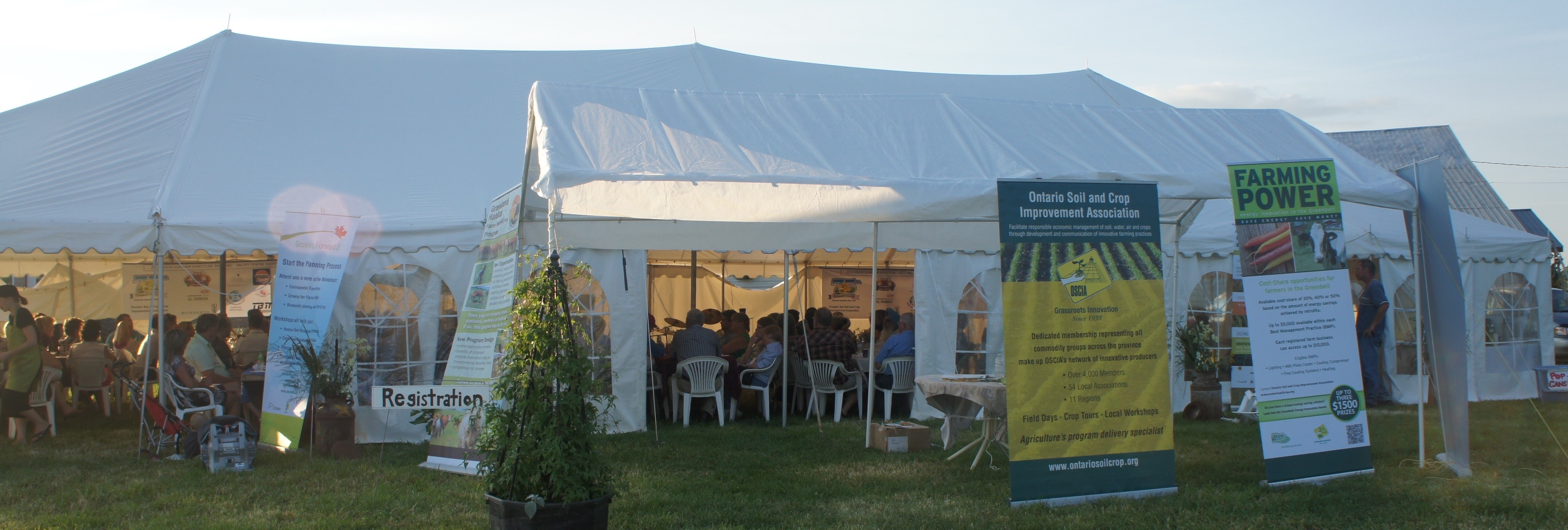 Summer meeting dinner tent and OSCIA displays