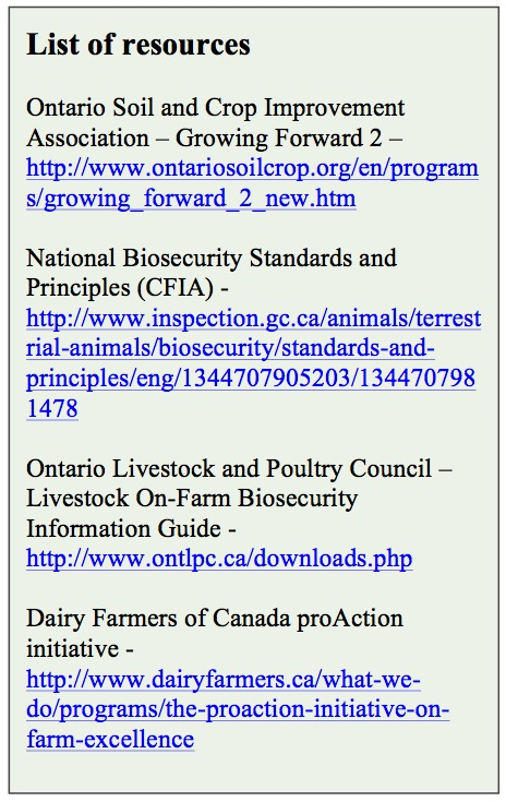 OSCIA livestock biosecurity assessments August, 2015-2