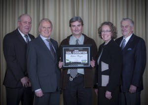 2014 Soil Champion Adam Hayes with 2014 OSCIA President, Henry Denotter, Executive Director, Harold Rudy, Lillie Ann Morris and Don Lobb