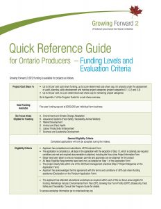 Quick Reference Guide – Funding Levels and Evaluation Criteria.