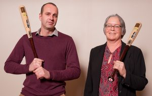 Jim Denys on the left and Anne Verhallen on the right accepting Soil Champion Award